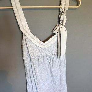 Gray cotton tank with ruffle straps